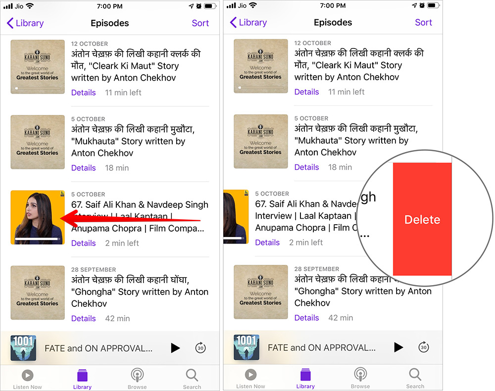 Swipe Left and Tap on Delete to Remove Episode from iPhone Podcasts App