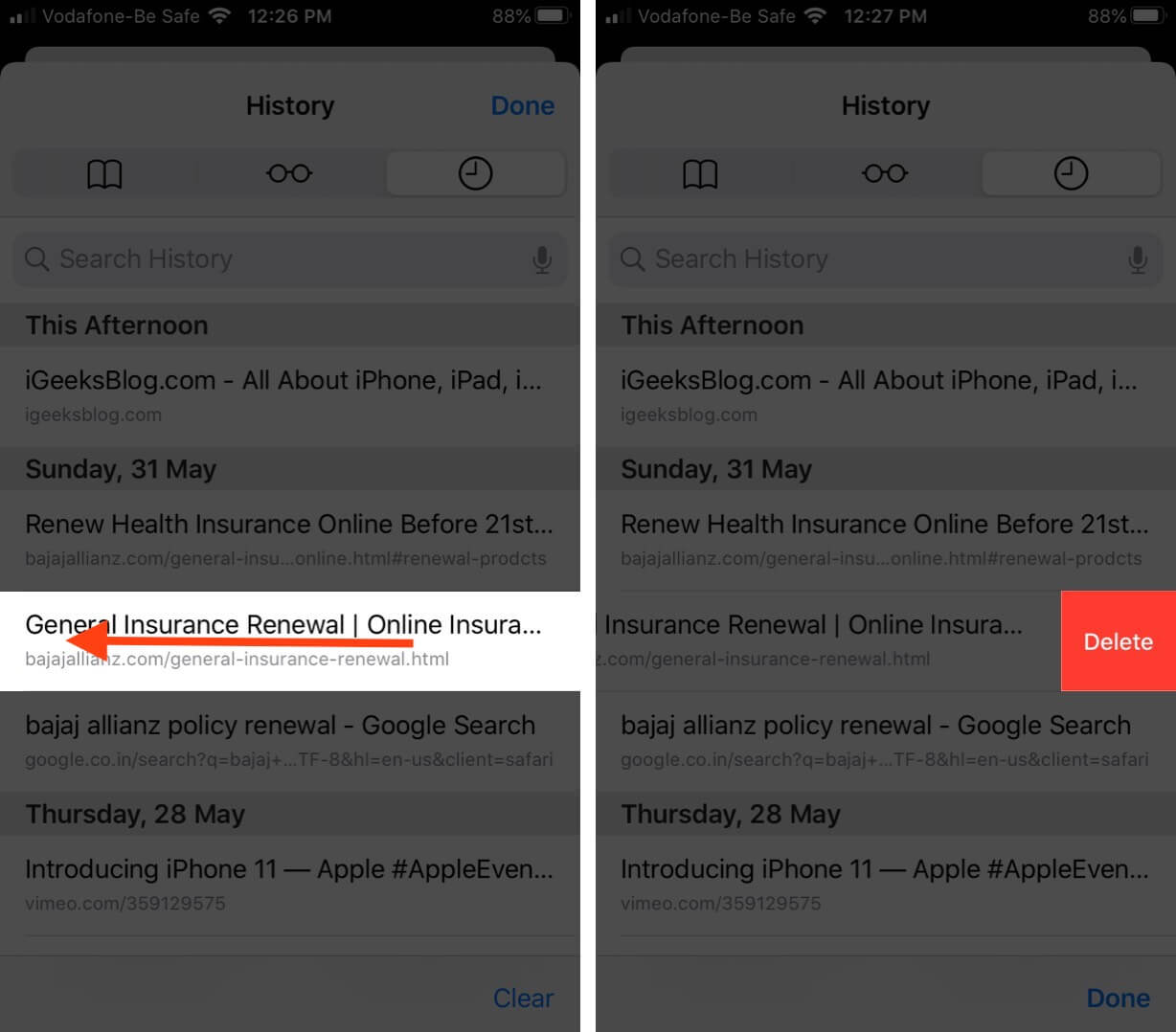 Swipe Left and Tap on Delete to Remove Specific Pages from Safari History on iPhone