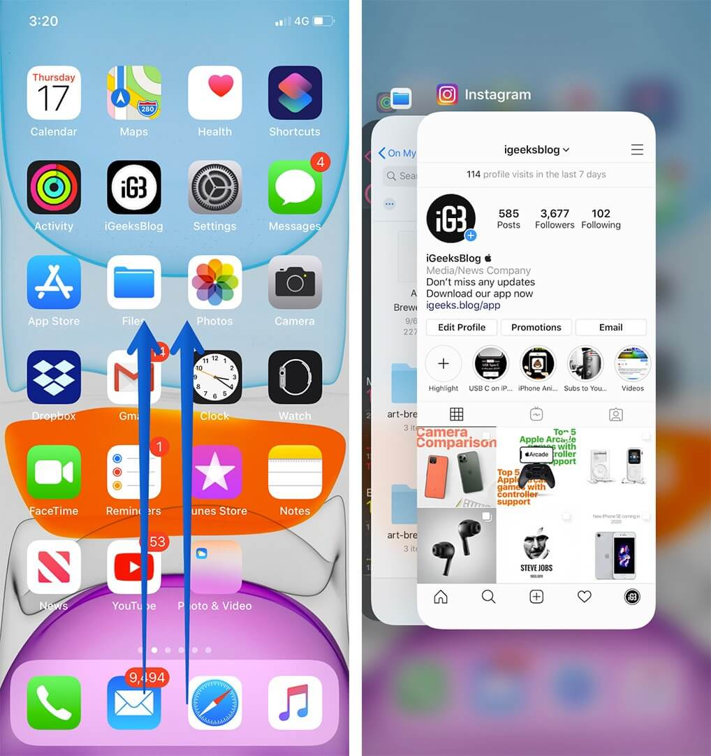 Swipe Up from Home Screen to Open App Switcher on iPhone 11