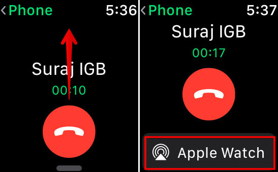 Swipe and Tap on AirPlay icon to Transfer Calls from iPhone to Apple Watch
