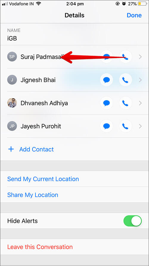 Swipe from left on the contact you want to remove in Group iMessage
