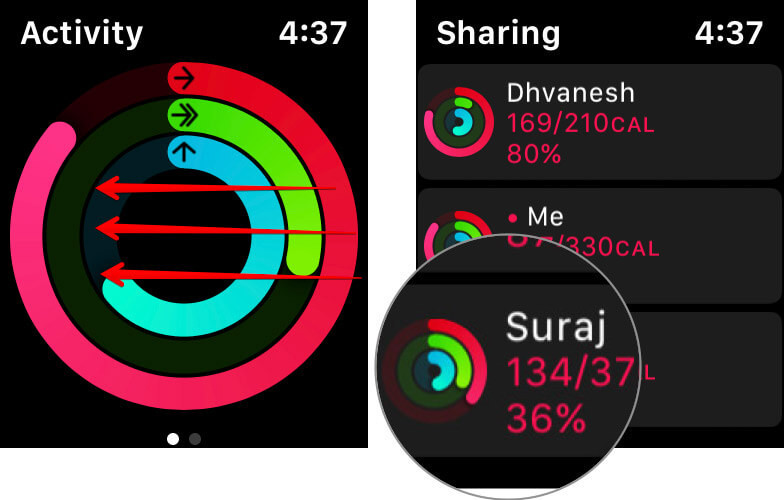 Swipe left and choose a friend in Activity app from Apple Watch