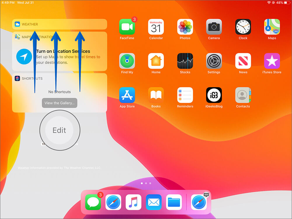 Swipe up and Tap on Edit to Access Today View Settings on iPad