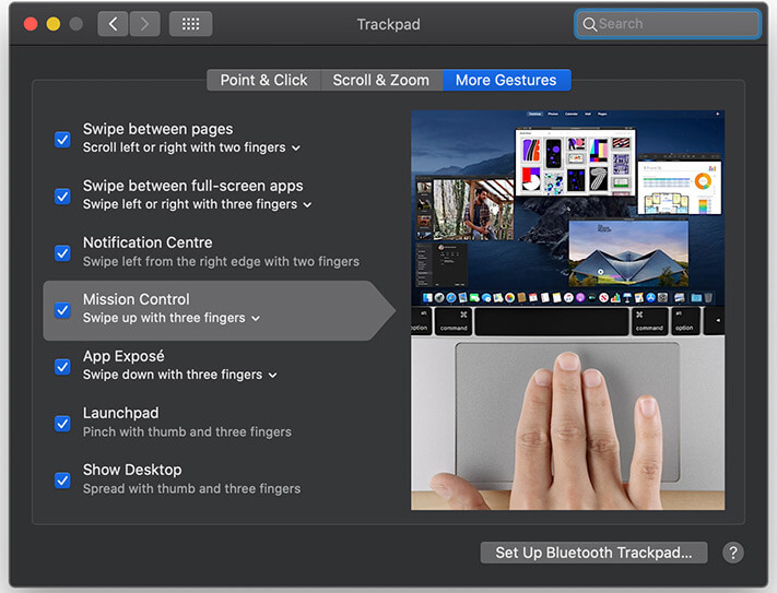 Swiping on Trackpad get access to Mission Control on Mac