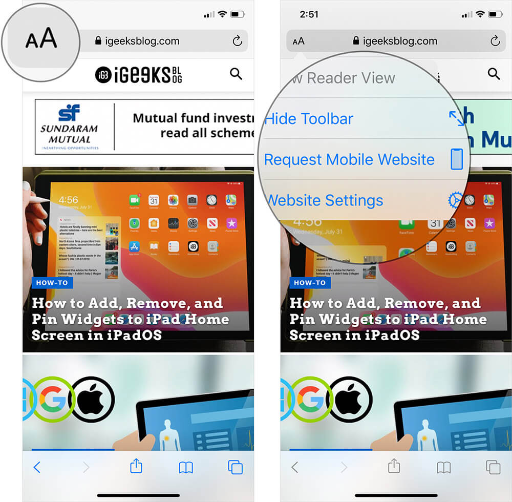 Switch Back to Mobile Site After Switching to Desktop Version on iPhone and iPad in Safari
