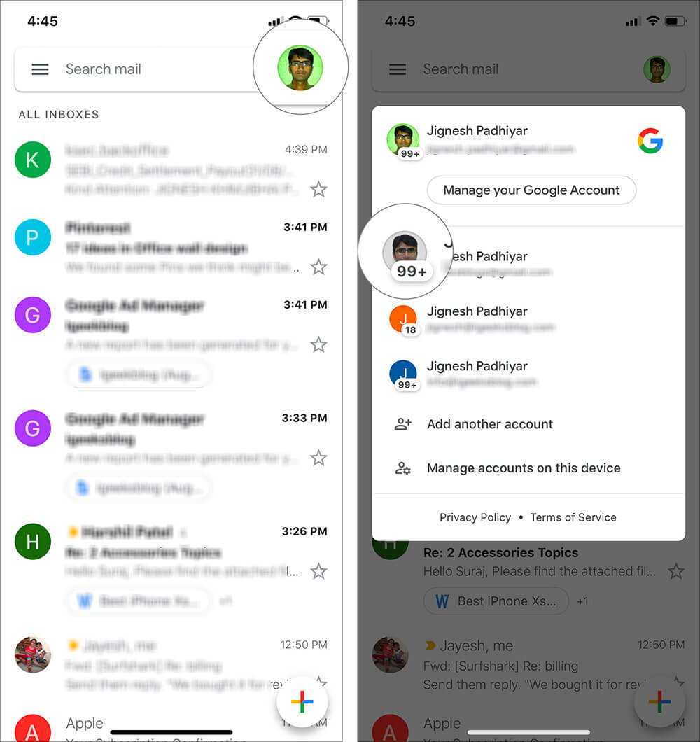 Switch Between Multiple Gmail Accounts Quickly on iOS and Android Device