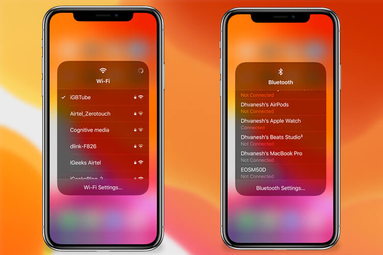 Switch WiFi Networks and Bluetooth Devices Right From Control Center in iOS 13