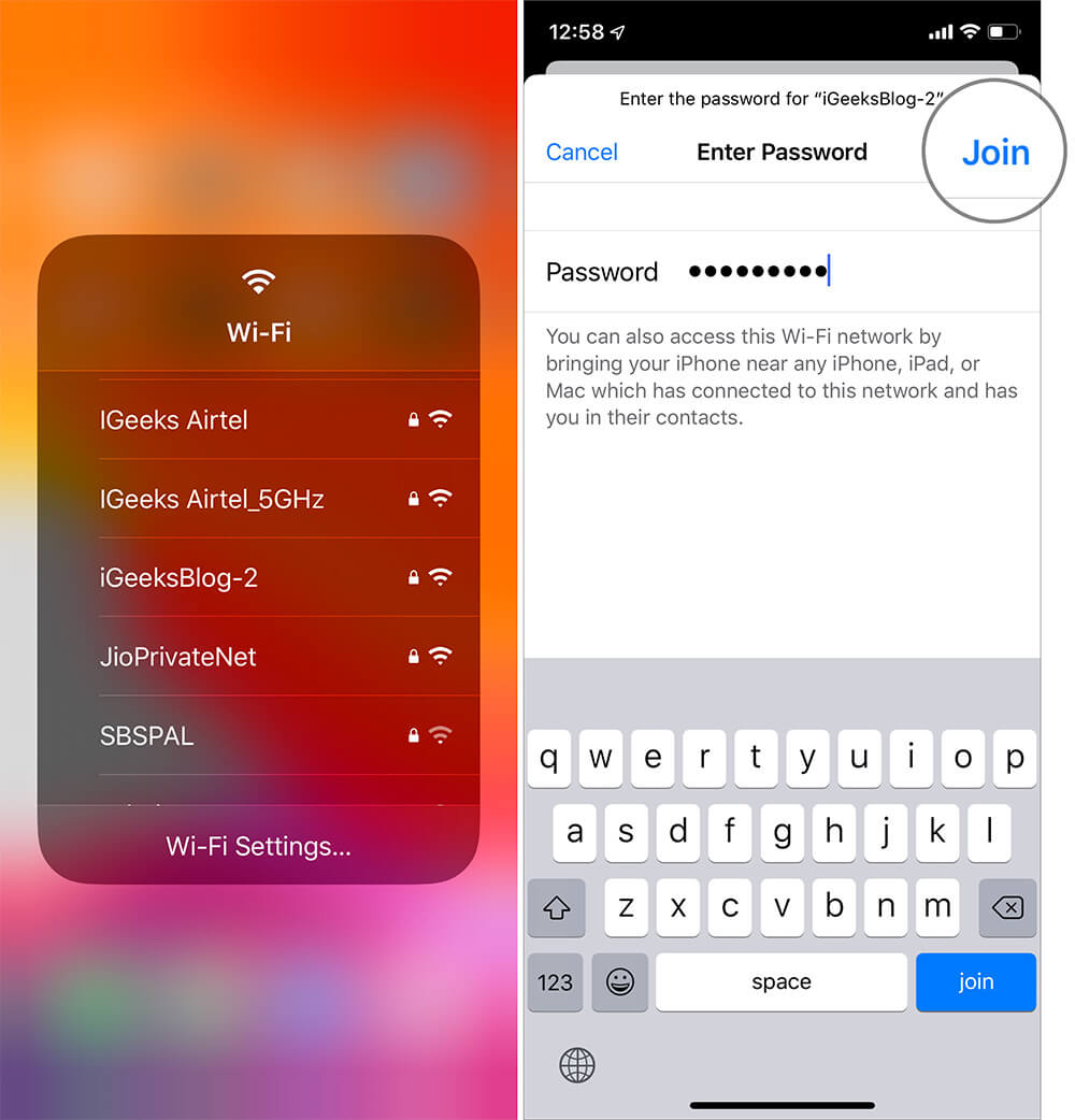 Switch WiFi networks from Control Center in iOS 13