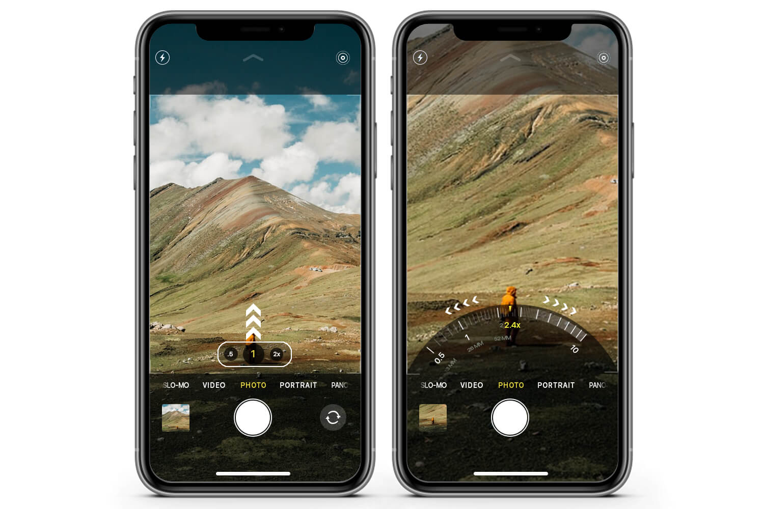 Switch between Ultra-Wide, Wide, and Telephoto lens on iPhone 11 Pro Using Radial zoom wheel