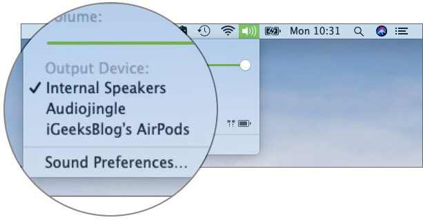 Switch between audio sources with AirPods on Mac