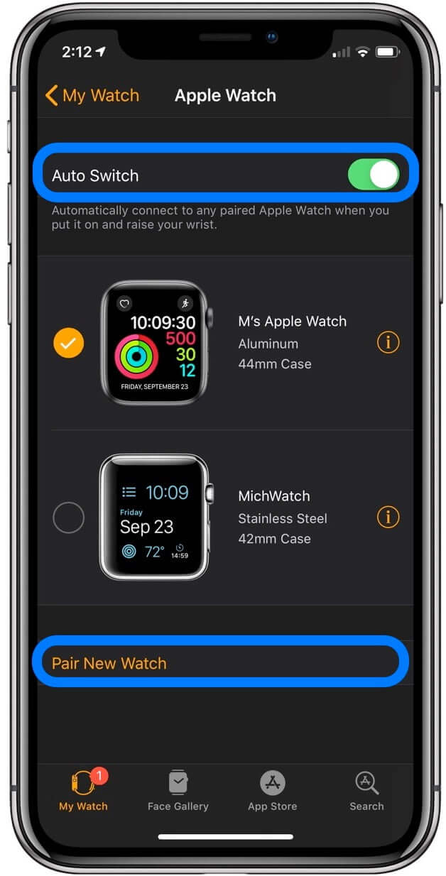 Switching Between Multiple Apple Watches