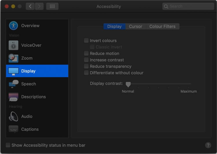 System Preferences Click on Accessibility then Select Display in Mac