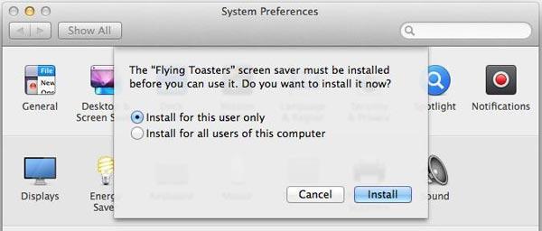 System Preferences Screen Saver Window on Mac OS X