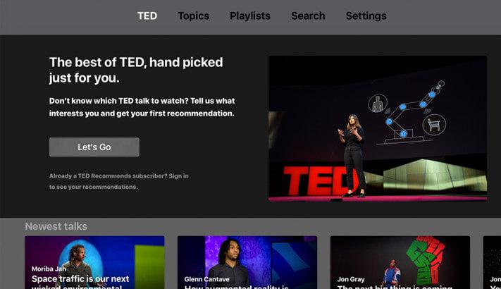 TED Apple TV App Screenshot