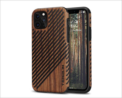 TENDLIN TPU Hybrid Wood Case for iPhone 11 Pro Max