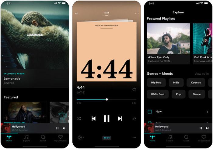 TIDAL iPhone iPad Spotify Alternative App Screenshot