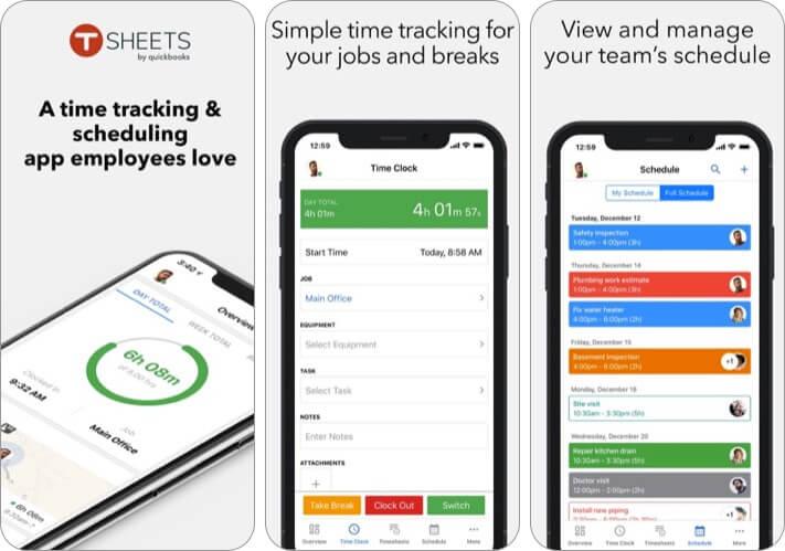 TSheets Time Tracker iPhone and iPad App Screenshot