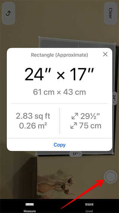 Take Photo of Measurement in Measure App on iPhone