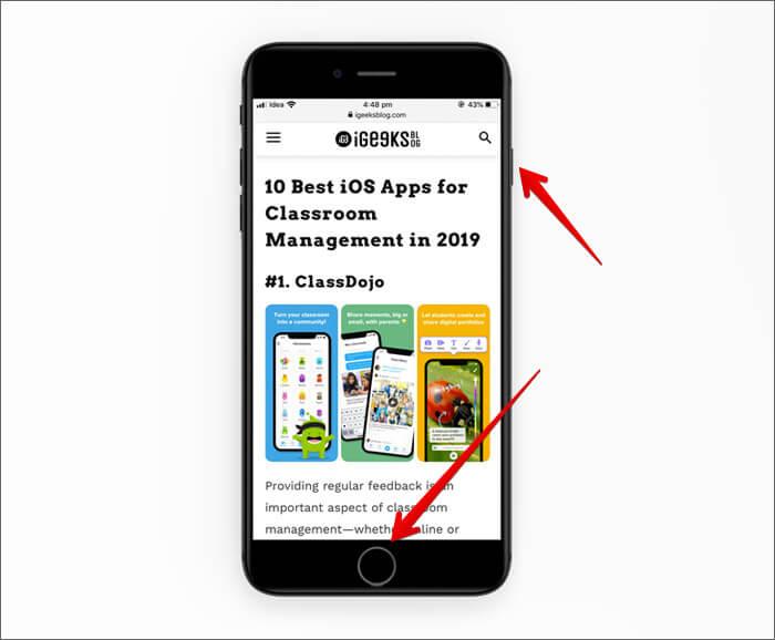Take Screenshot of Safari Web page on iPhone
