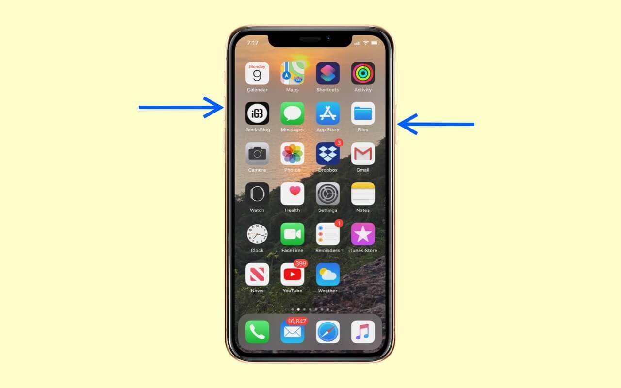 Take Screenshot on iPhone X, Xs, and iPhone 11 Series