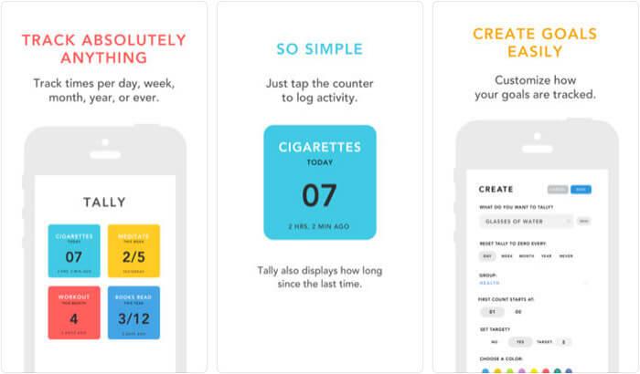 Tally Goal Tracker iPhone and iPad App Screenshot