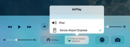 Tap AirPlay and select the AirPort Express
