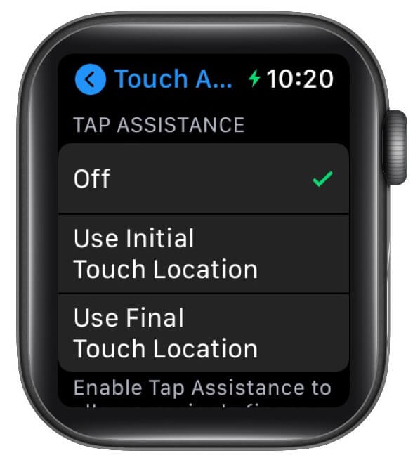 Tap Assistance option in TouchAccommodations on Apple watch
