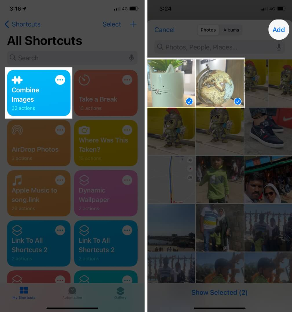 Tap Combine Images in Shortcuts app and Select Photos, tap Add