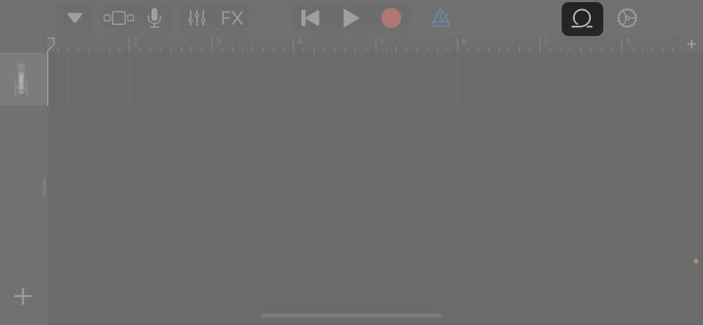 Tap Loop icon in GarageBand app on iPhone