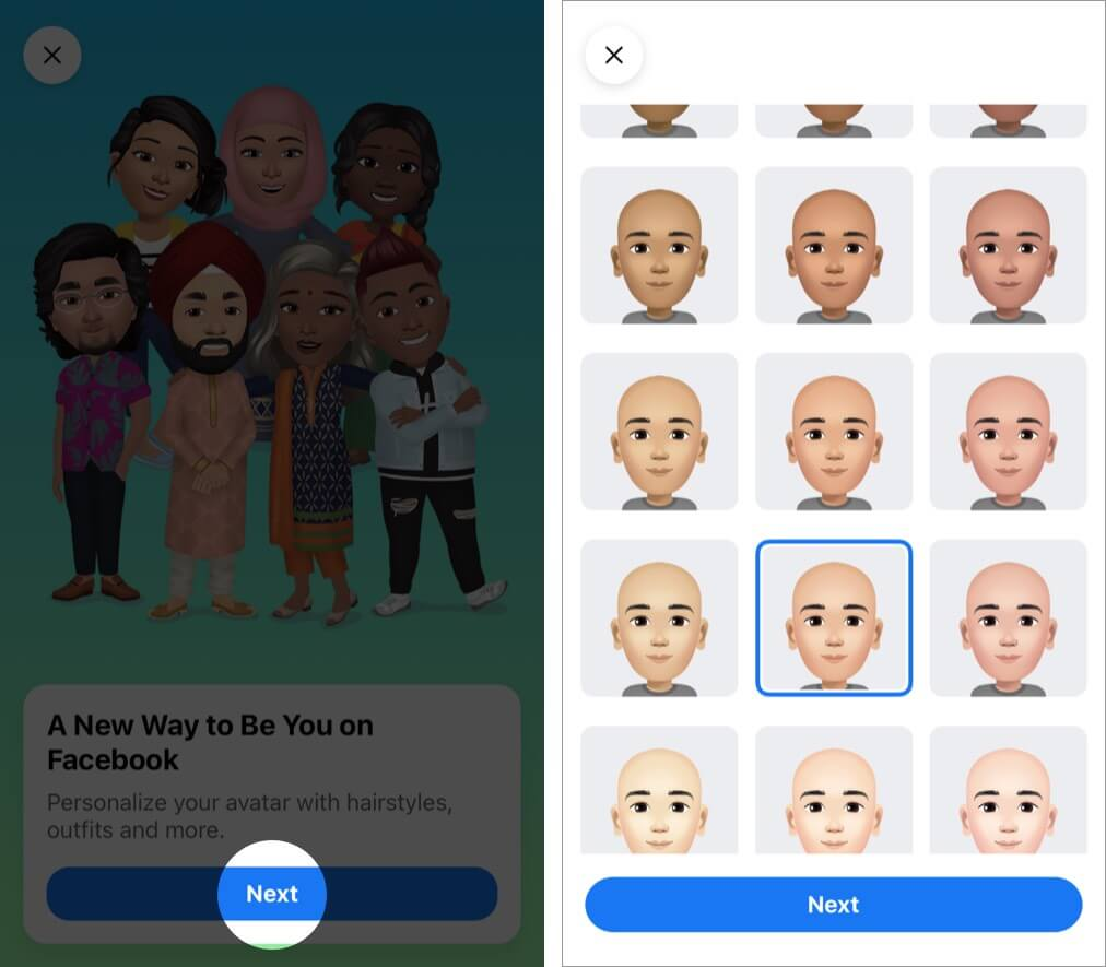 Tap Next and then get started designing your own Facebook avatar