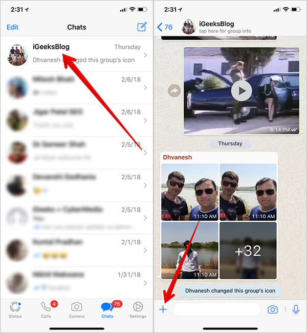 Tap On Group and Tap on Plus Sign in WhatsApp on iPhone