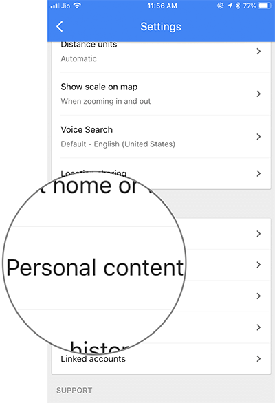 Tap On Personal Content in Google Maps on iPhone, iPad, or Android