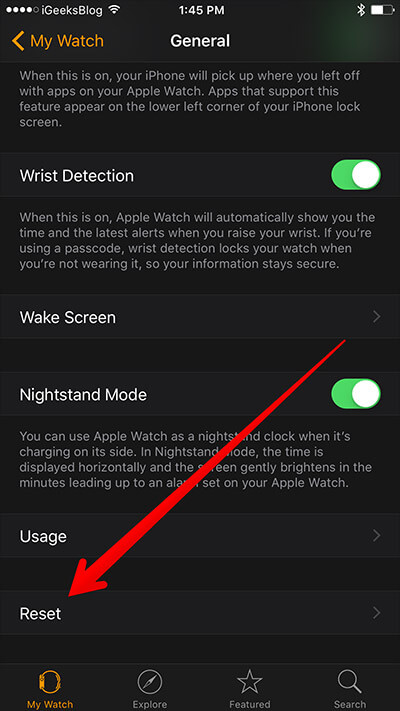 Tap On Reset from iPhone in Apple Watch App