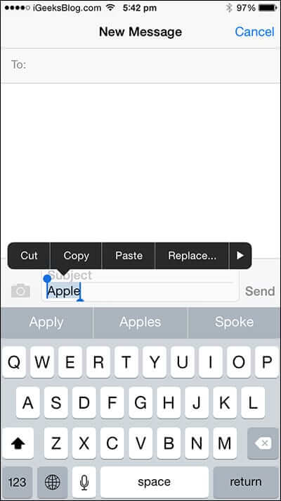 Tap Particular Word in iPhone Message App