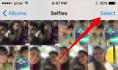Tap Select in iPhone Selfie Album