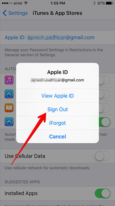 Tap Sign Out from App Store Settings on iPhone