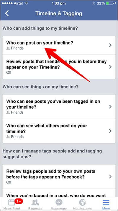 Tap Who Can Post on My Timeline in Facebook App