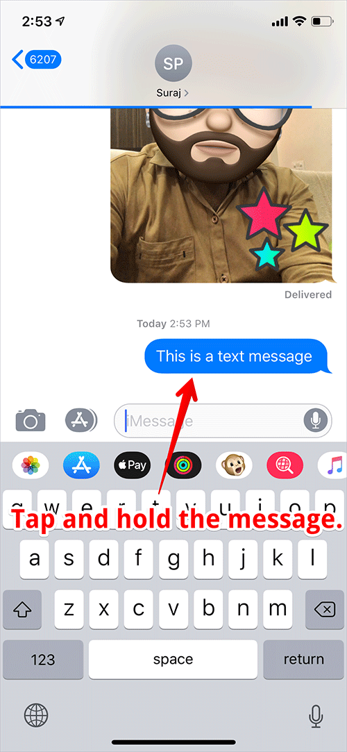 Tap and Hold on the Message on iPhone