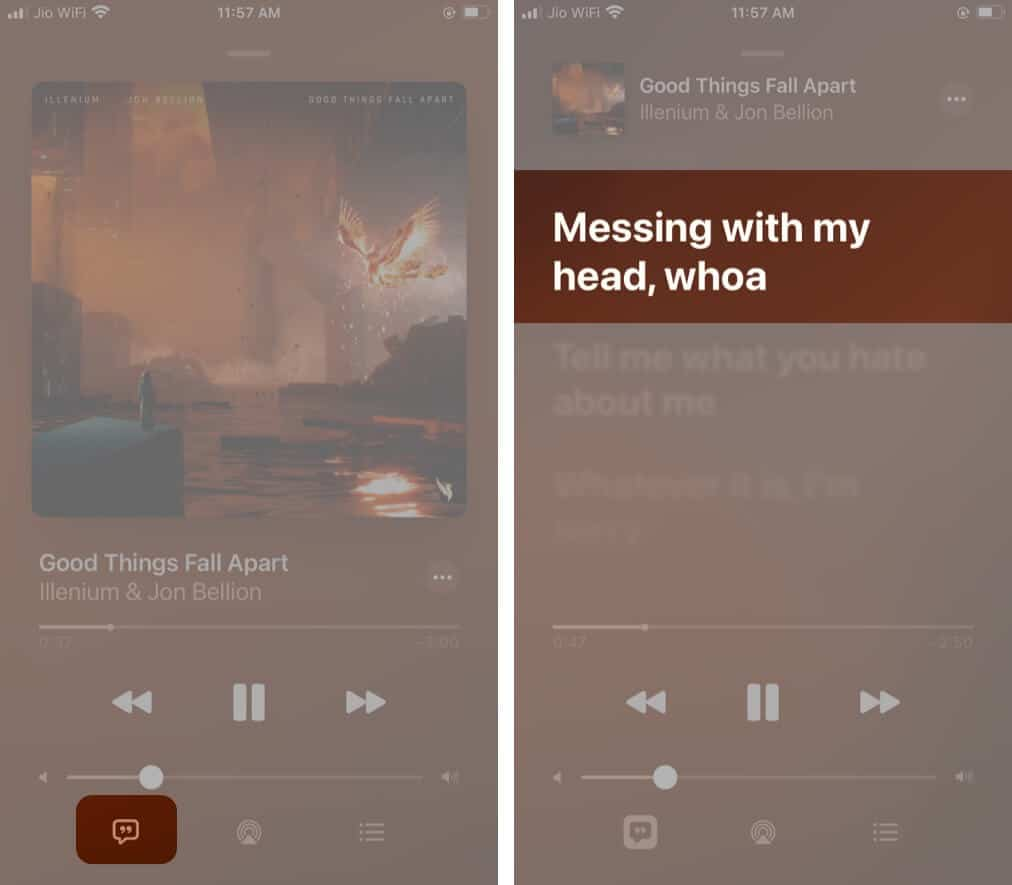 Tap lyrics icon and long press on lyrics you want to share in Apple Music