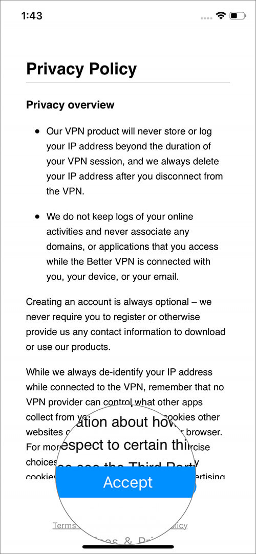Tap on Accept Privacy Policy in VPN app on iPhone