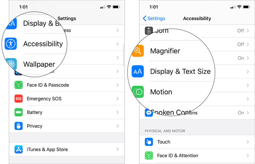 Tap on Accessibility and Select Display and Text Size in iOS 13 Settings