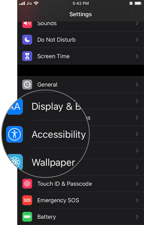 Tap on Accessibility in iOS 13 Settings App on iPhone