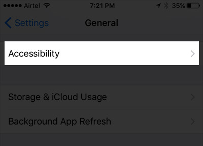 Tap on Accessibility in iPhone Settings in iOS 10