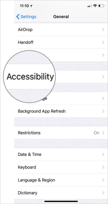 Tap on Accessibility in iPhone X Settings