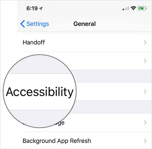Tap on Accessibility in iPhone or iPad Settings