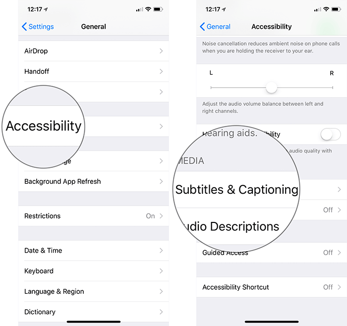 Tap on Accessibility then Subtitles & Captioning on iPhone or iPad
