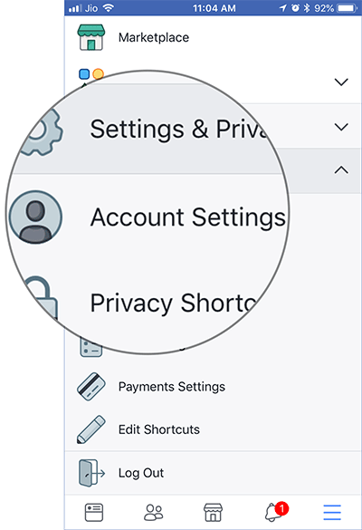 Tap on Account Settings in Facebook on iPhone or Android