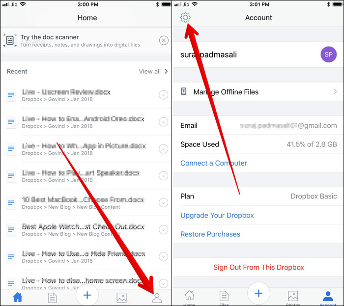Tap on Account tap and then Settings icon in Dropbox App on iPhone