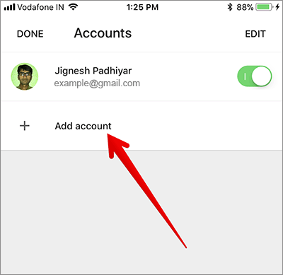 Tap on Add Account in Gmail App on iPhone or iPad