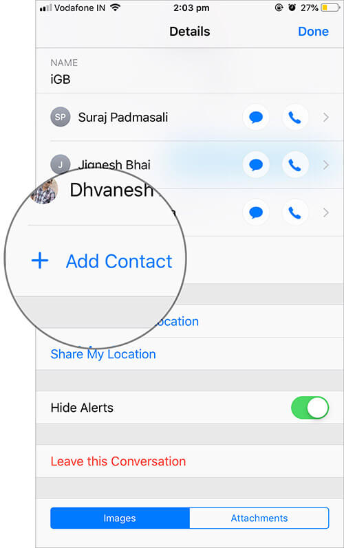 Tap on Add Contact in Group Message on iPhone